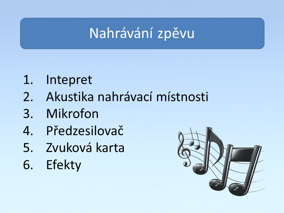 Obsah Nahrávání zpěvu Intepret Akustika nahrávací místnosti Mikrofon