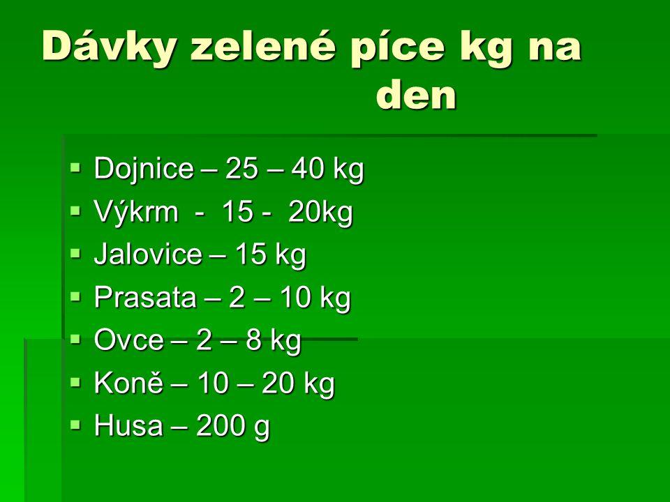 Dávky zelené píce kg na den