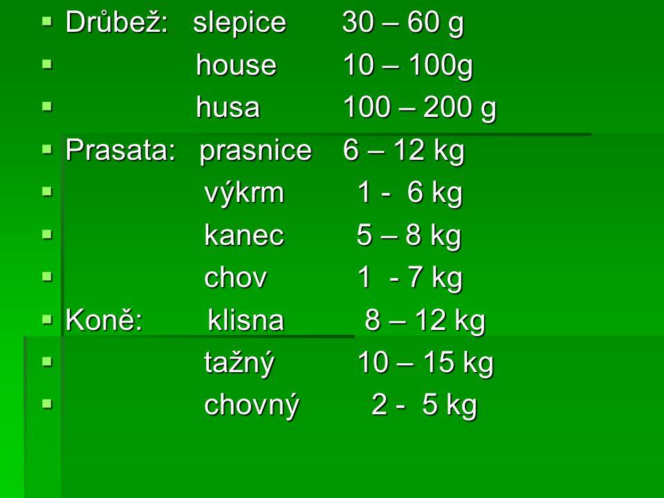Drůbež: slepice 30 – 60 g house 10 – 100g. husa 100 – 200 g. Prasata: prasnice 6 – 12 kg.