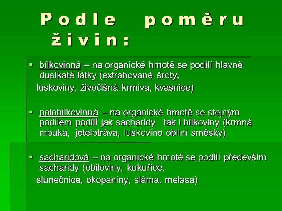 P o d l e p o m ě r u ž i v i n : bílkovinná – na organické hmotě se podílí hlavně dusíkaté látky (extrahované šroty,
