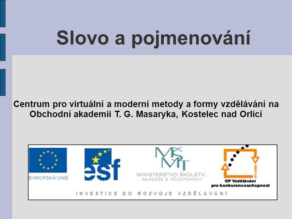 Slovo a pojmenování Centrum pro virtuální a moderní metody a formy vzdělávání na.