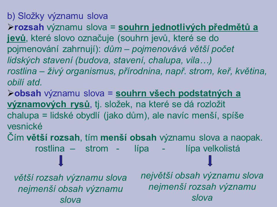 b) Složky významu slova