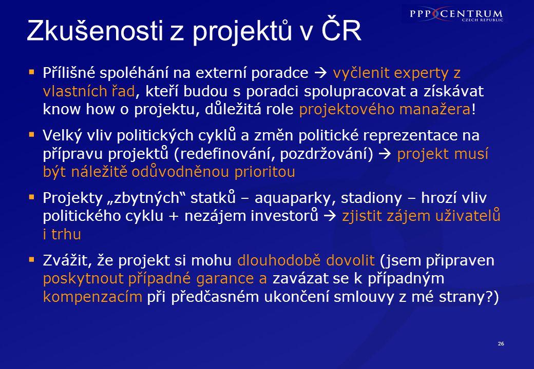 Zkušenosti z projektů v ČR