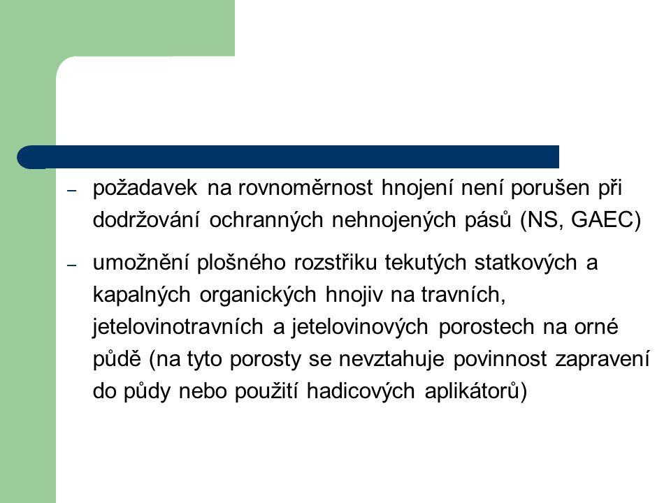požadavek na rovnoměrnost hnojení není porušen při dodržování ochranných nehnojených pásů (NS, GAEC)