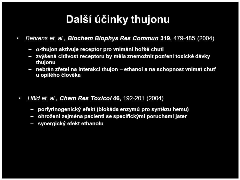 Další účinky thujonu Behrens et. al., Biochem Biophys Res Commun 319, 479-485 (2004) -thujon aktivuje receptor pro vnímání hořké chuti.
