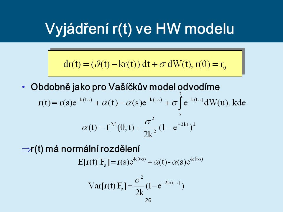 Vyjádření r(t) ve HW modelu