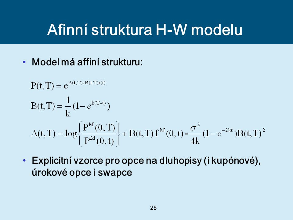 Afinní struktura H-W modelu