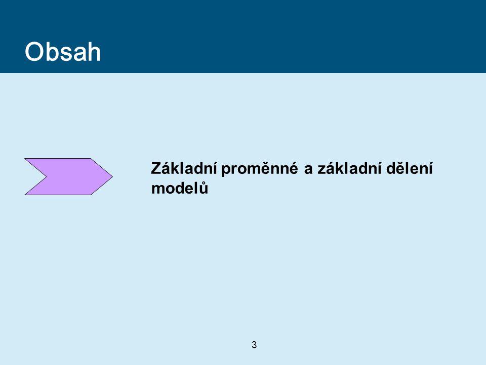 Obsah Základní proměnné a základní dělení modelů