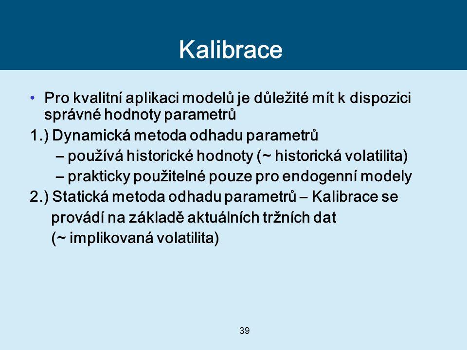 Kalibrace Pro kvalitní aplikaci modelů je důležité mít k dispozici správné hodnoty parametrů. 1.) Dynamická metoda odhadu parametrů.