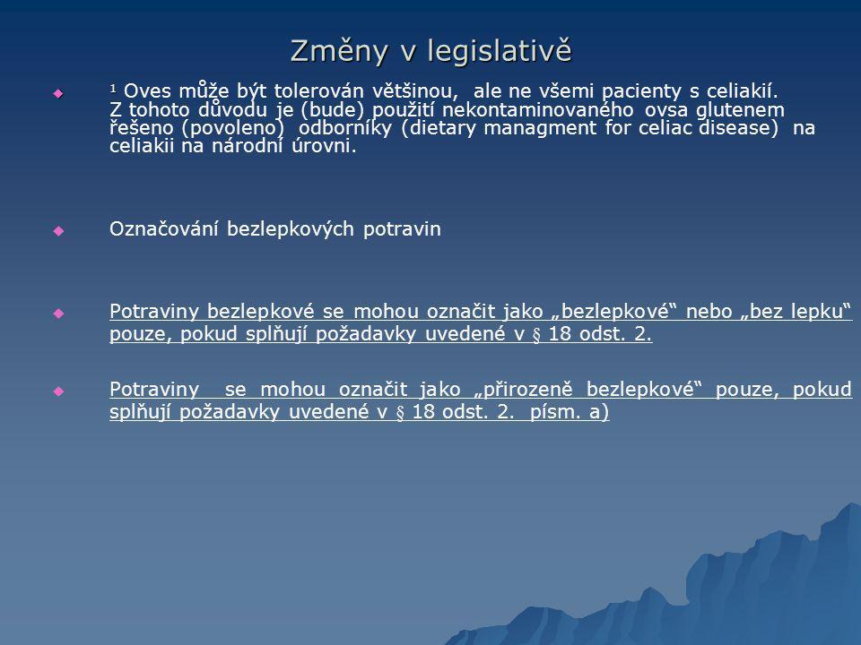 Změny v legislativě Označování bezlepkových potravin