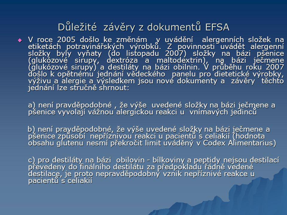 Důležité závěry z dokumentů EFSA