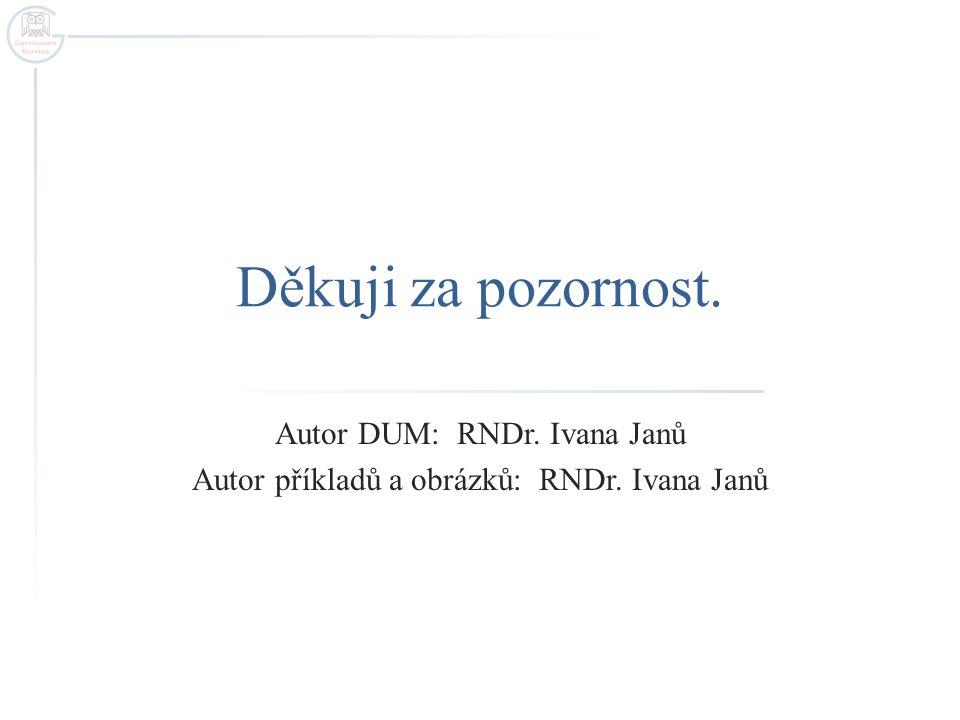 Autor DUM: RNDr. Ivana Janů Autor příkladů a obrázků: RNDr. Ivana Janů