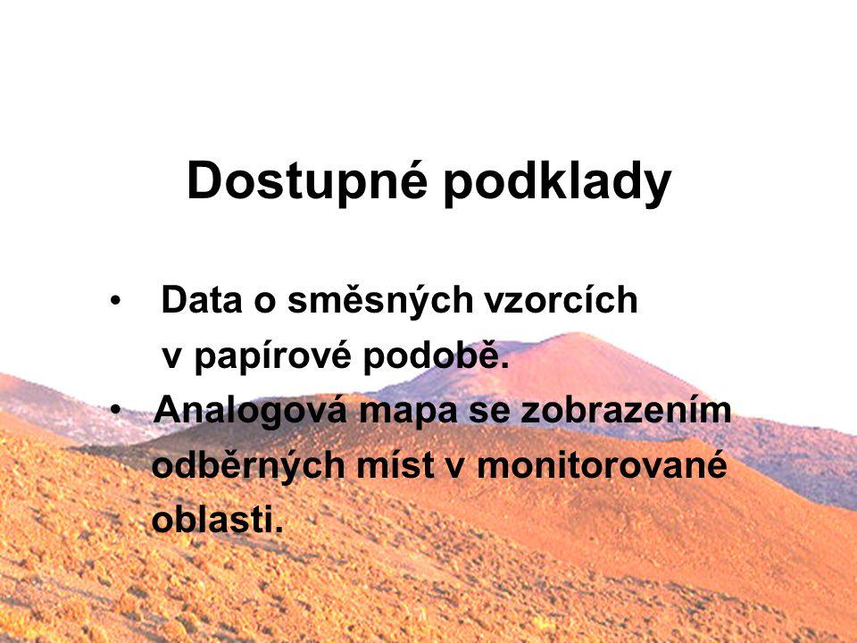 Dostupné podklady Data o směsných vzorcích v papírové podobě.