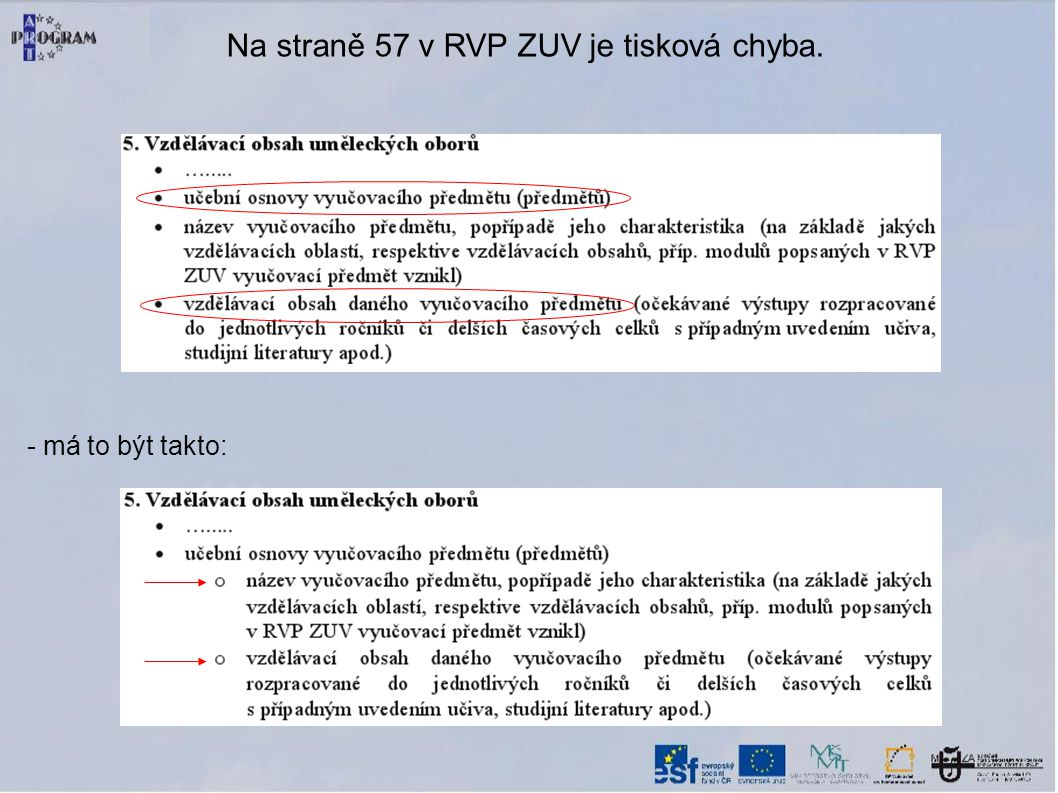 Na straně 57 v RVP ZUV je tisková chyba.