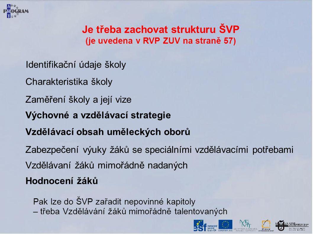 Je třeba zachovat strukturu ŠVP (je uvedena v RVP ZUV na straně 57)