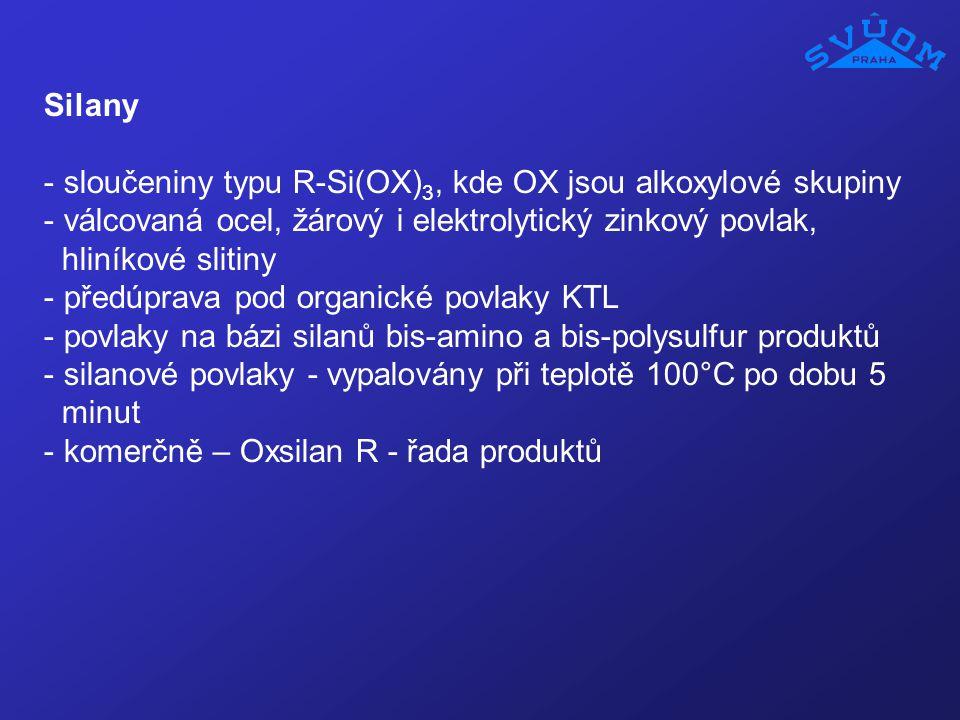 Silany sloučeniny typu R-Si(OX)3, kde OX jsou alkoxylové skupiny. válcovaná ocel, žárový i elektrolytický zinkový povlak,