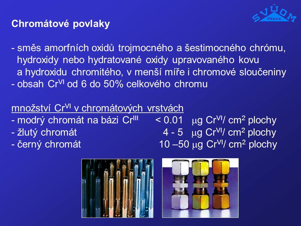Chromátové povlaky - směs amorfních oxidů trojmocného a šestimocného chrómu, hydroxidy nebo hydratované oxidy upravovaného kovu.
