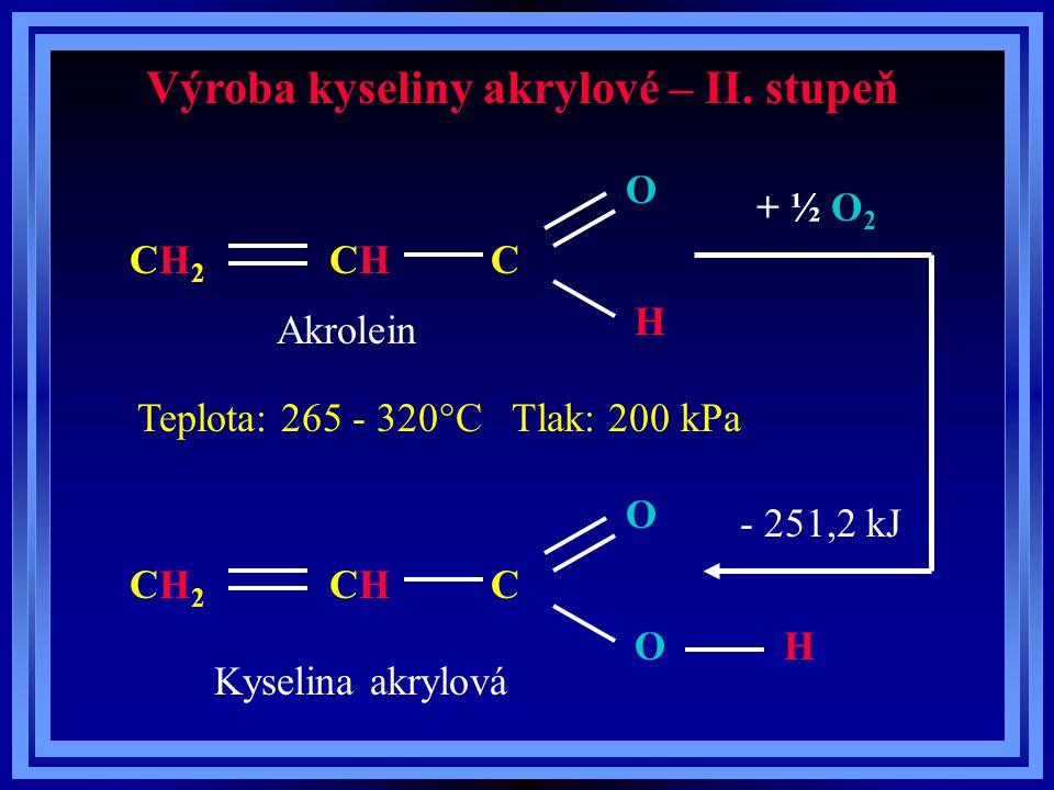 Výroba kyseliny akrylové – II. stupeň