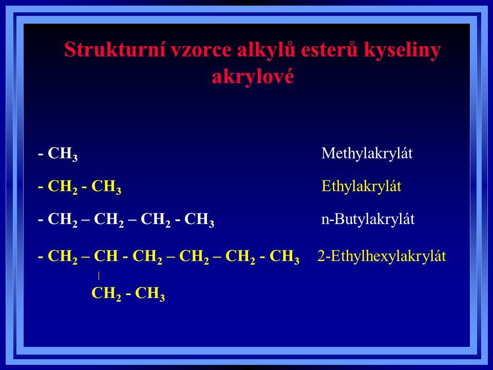 Strukturní vzorce alkylů esterů kyseliny akrylové