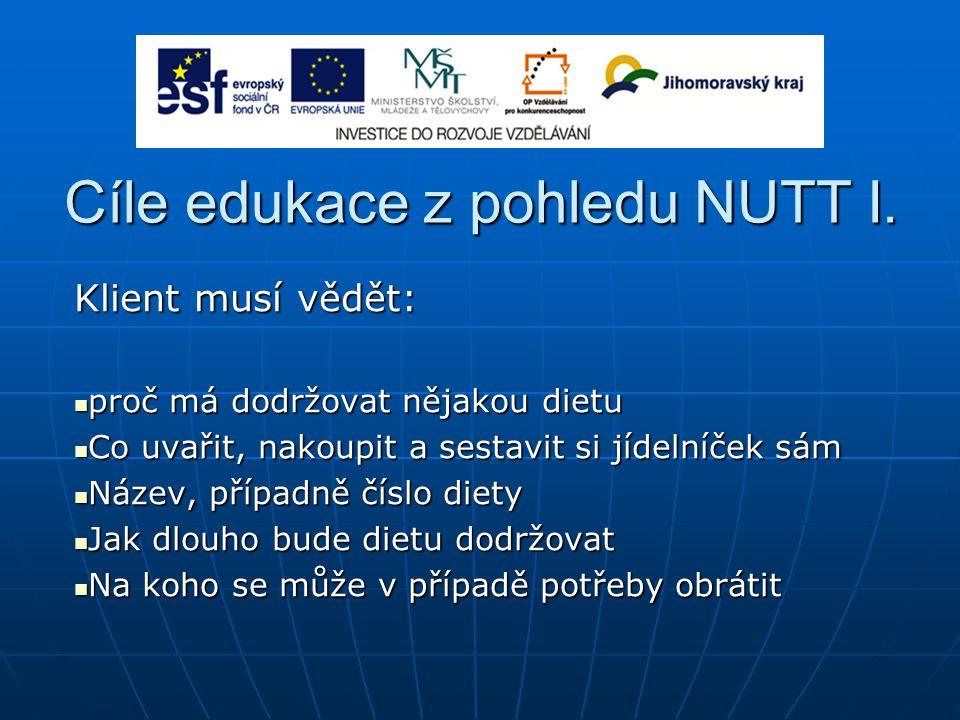 Cíle edukace z pohledu NUTT I.