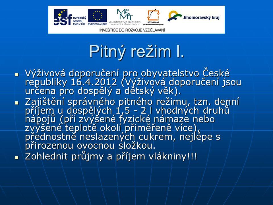 Pitný režim I. Výživová doporučení pro obyvatelstvo České republiky 16.4.2012 (Výživová doporučení jsou určena pro dospělý a dětský věk).