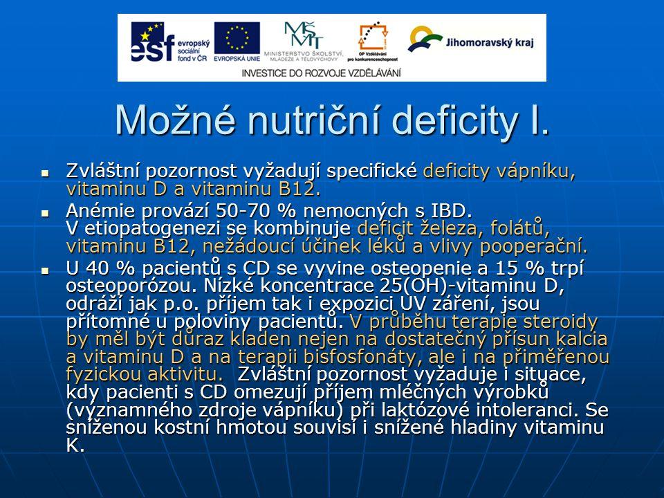 Možné nutriční deficity I.