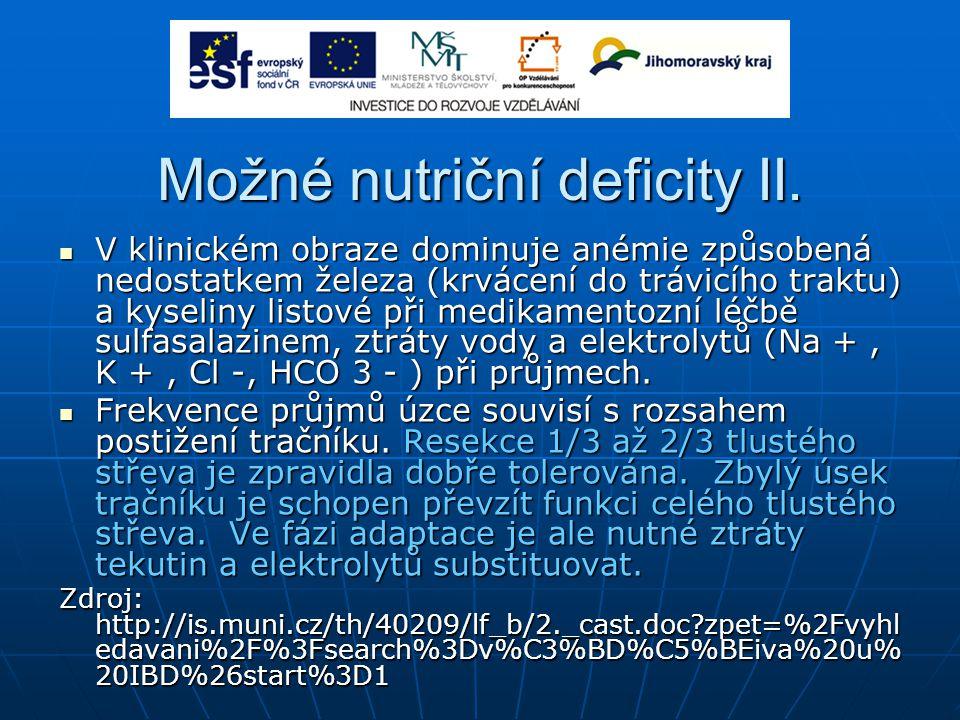 Možné nutriční deficity II.
