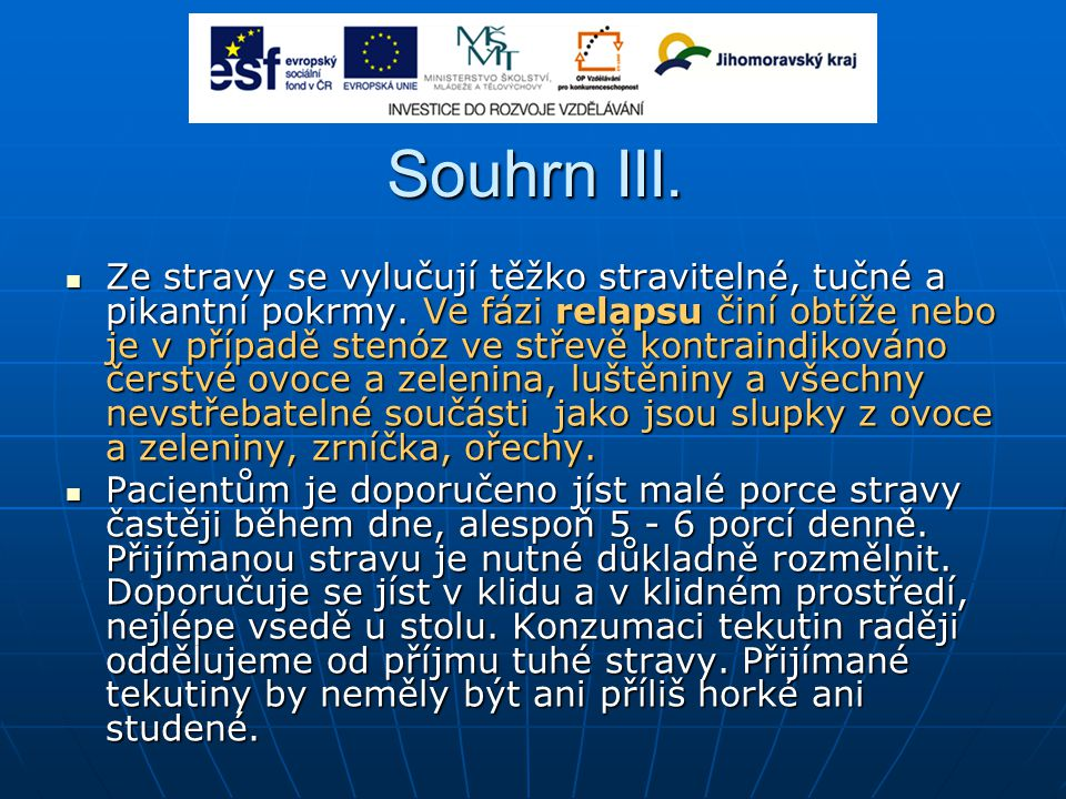 Souhrn III.