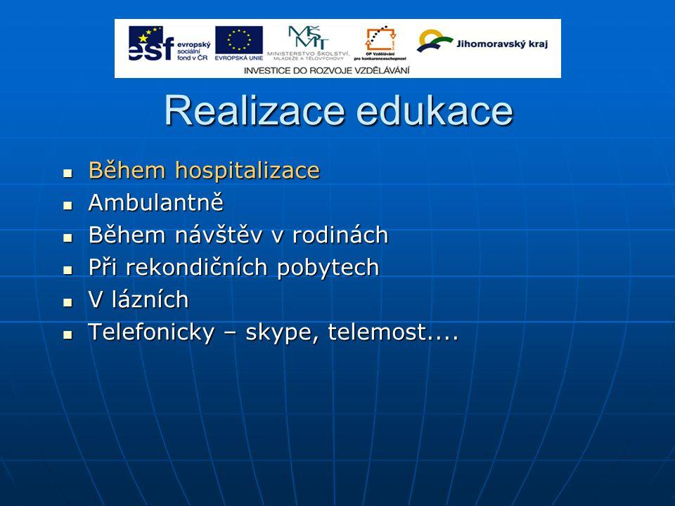 Realizace edukace Během hospitalizace Ambulantně