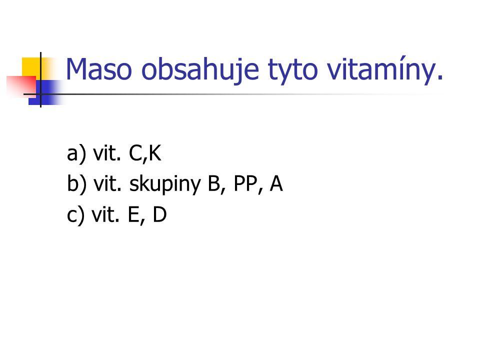 Maso obsahuje tyto vitamíny.