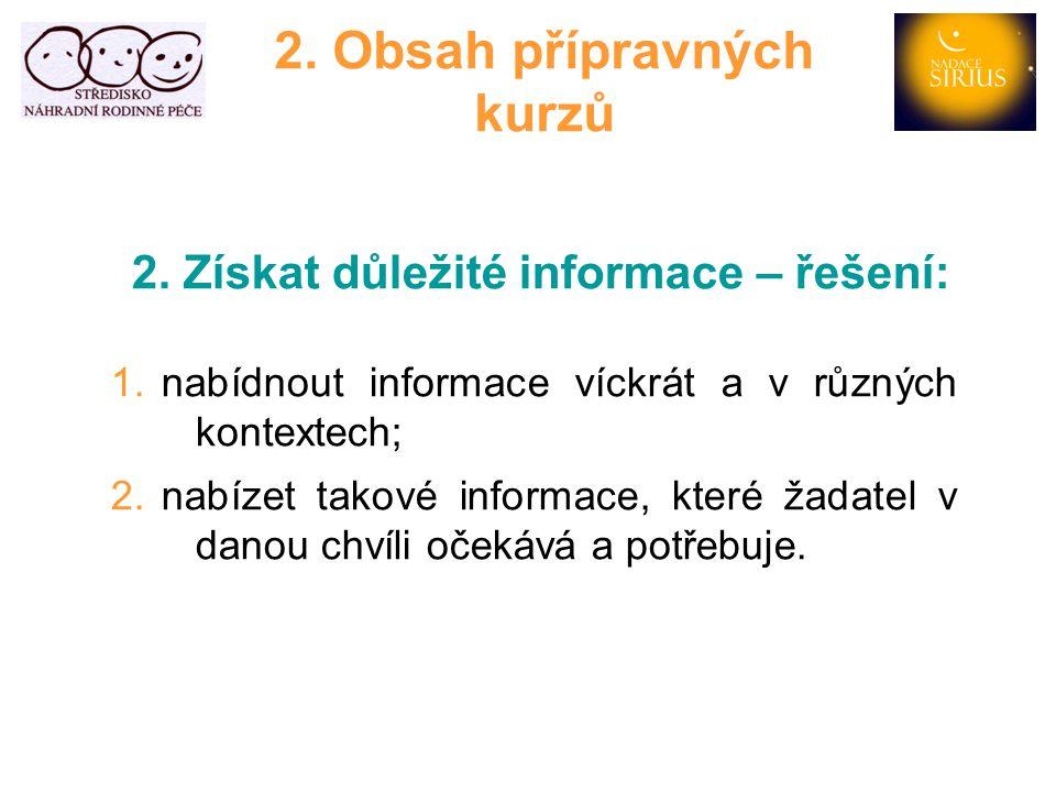2. Obsah přípravných kurzů