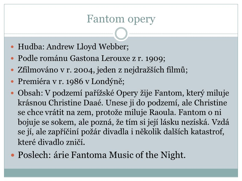 Fantom opery Poslech: árie Fantoma Music of the Night.