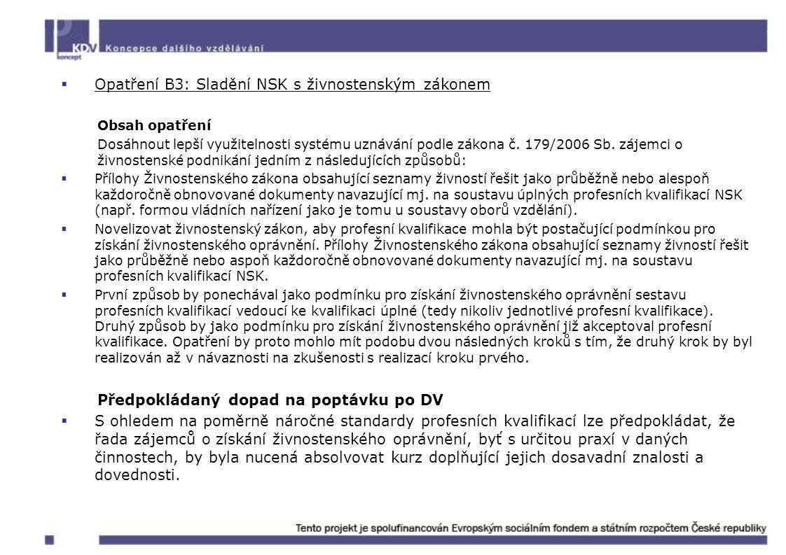 Opatření B3: Sladění NSK s živnostenským zákonem