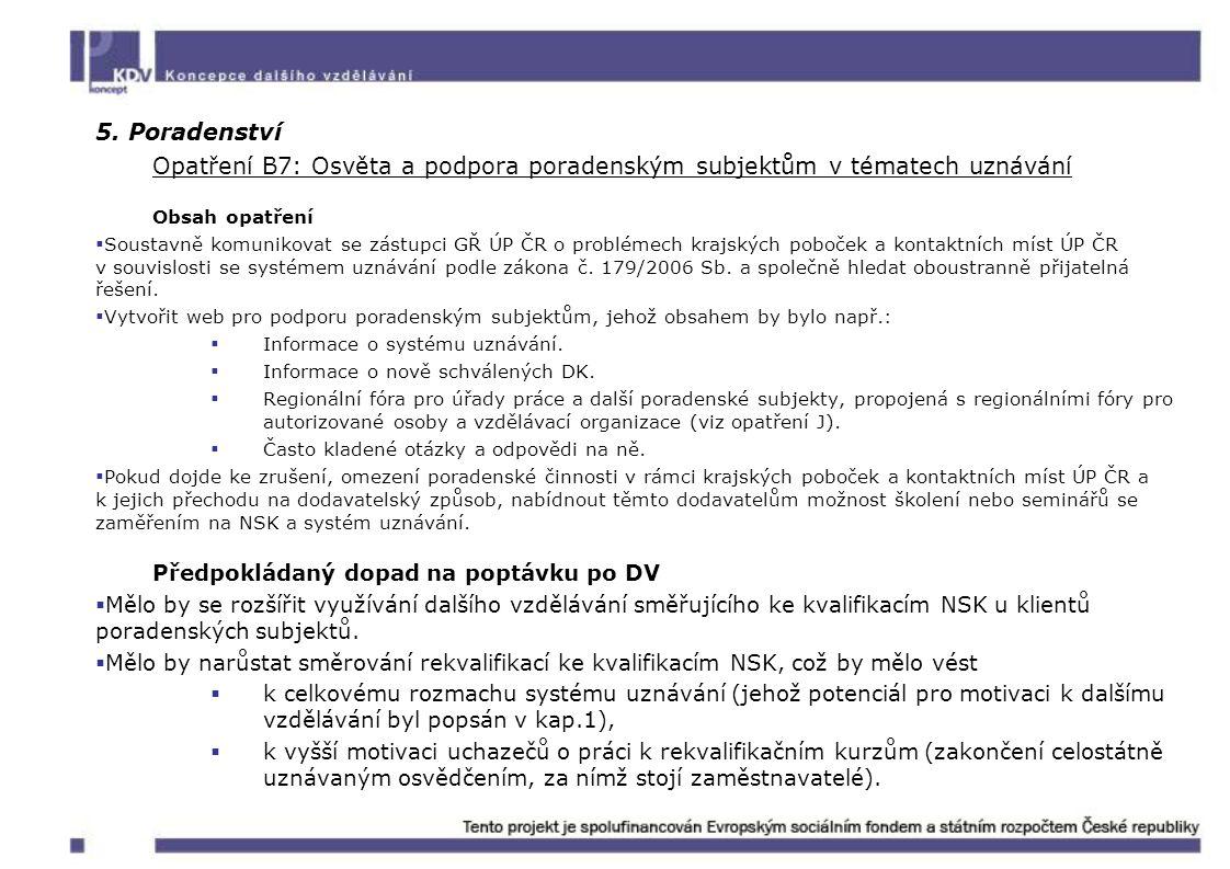 5. Poradenství Opatření B7: Osvěta a podpora poradenským subjektům v tématech uznávání. Obsah opatření.