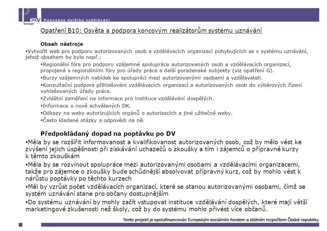 Opatření B10: Osvěta a podpora koncovým realizátorům systému uznávání