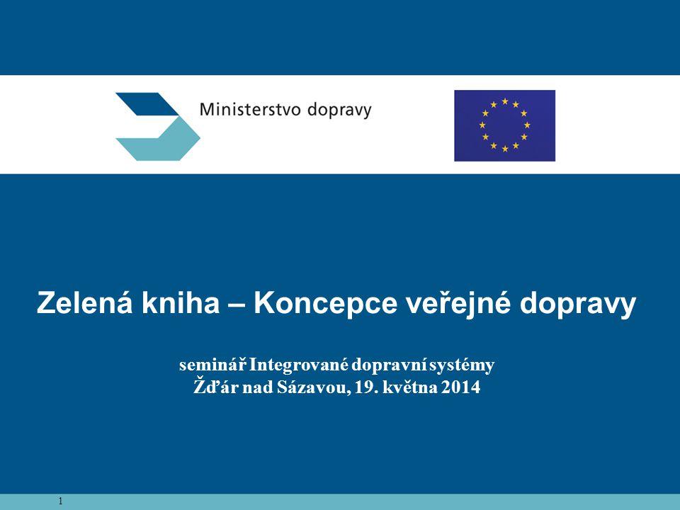 Zelená kniha – Koncepce veřejné dopravy seminář Integrované dopravní systémy Žďár nad Sázavou, 19. května 2014