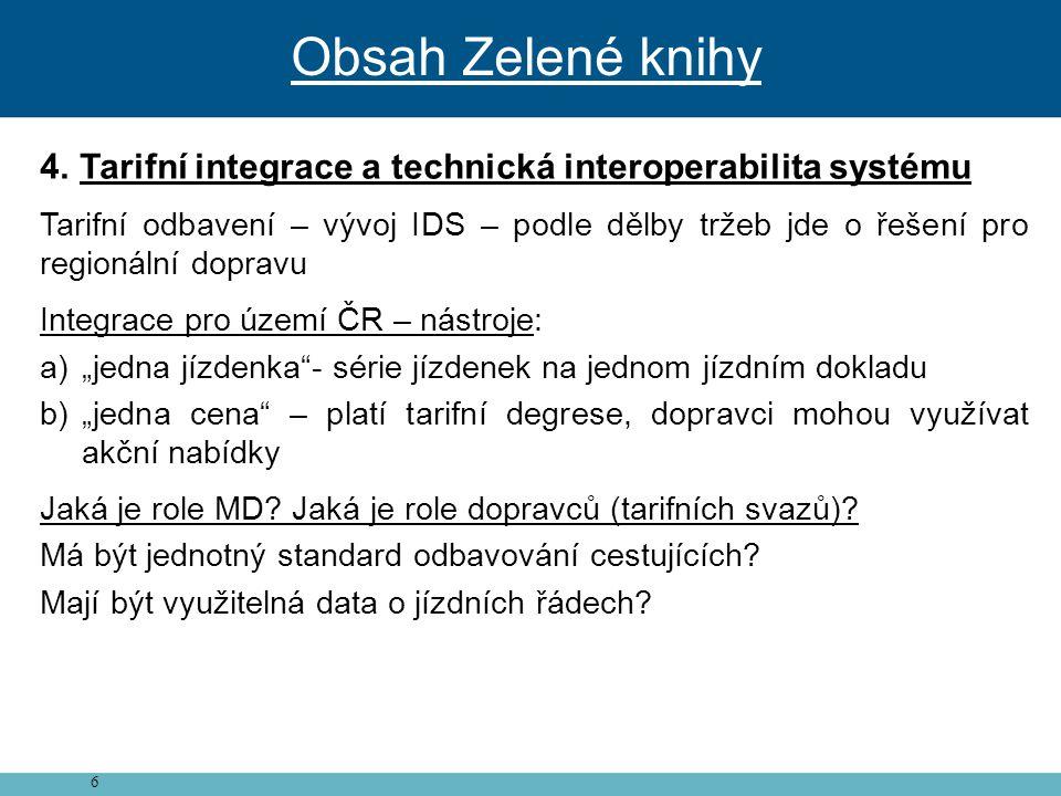 Obsah Zelené knihy Tarifní integrace a technická interoperabilita systému.