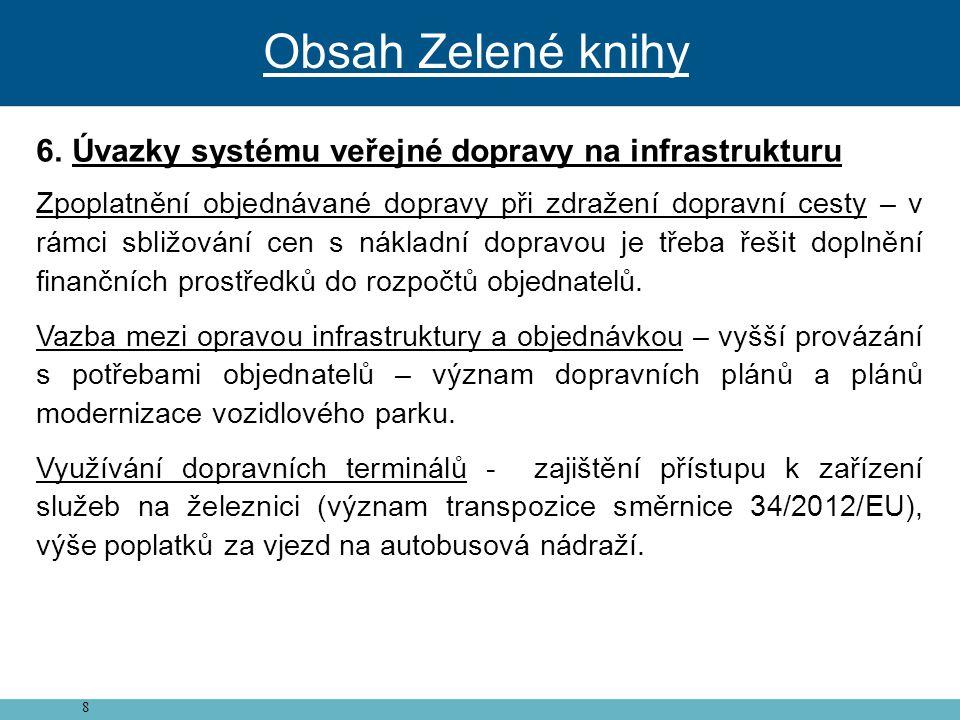 Obsah Zelené knihy Úvazky systému veřejné dopravy na infrastrukturu
