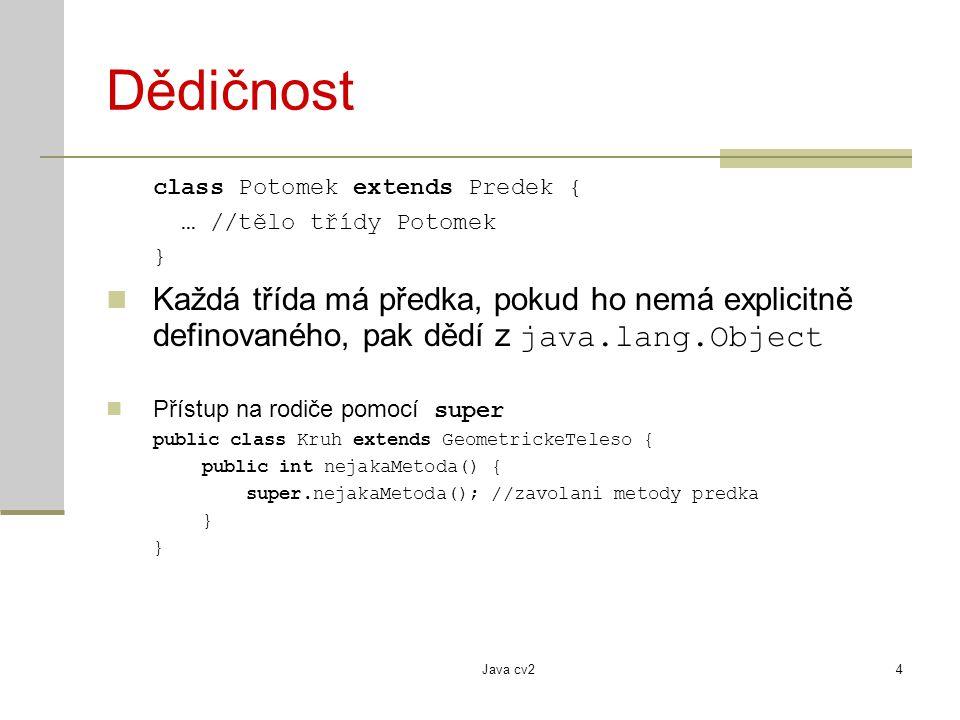 Dědičnost class Potomek extends Predek { … //tělo třídy Potomek. }