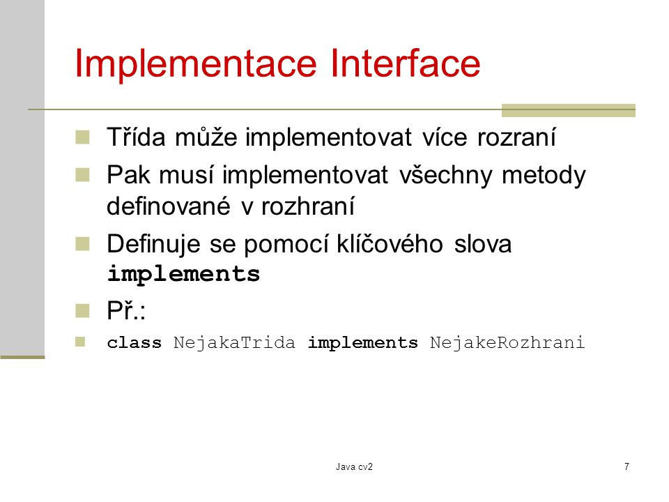 Implementace Interface