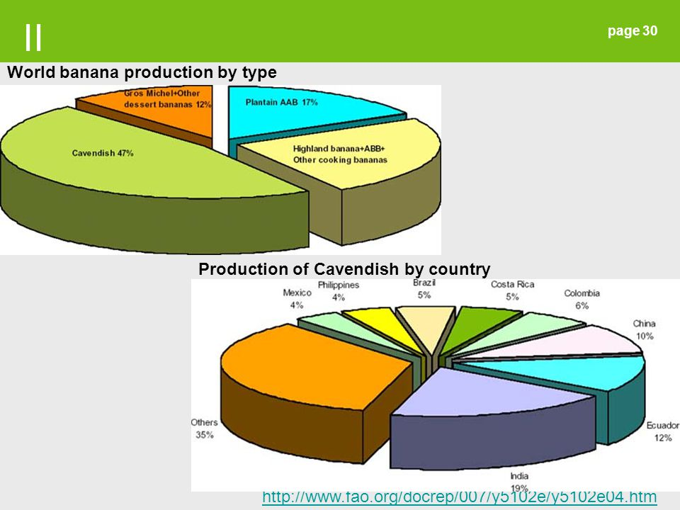 II World banana production by type Production of Cavendish by country