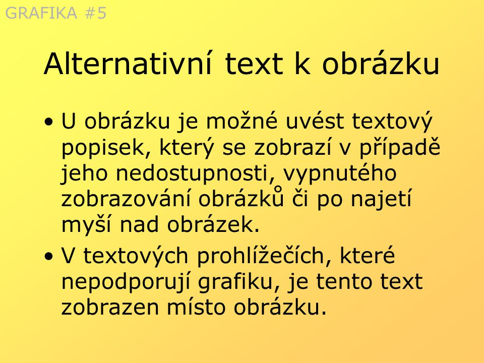 Alternativní text k obrázku