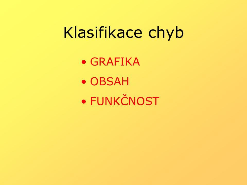 Klasifikace chyb GRAFIKA OBSAH FUNKČNOST