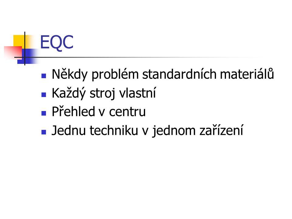 EQC Někdy problém standardních materiálů Každý stroj vlastní