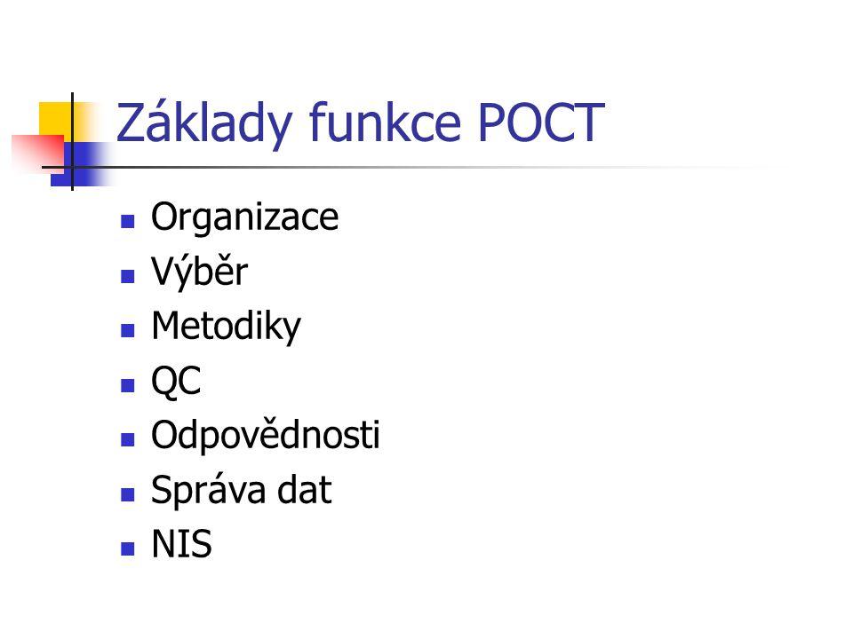Základy funkce POCT Organizace Výběr Metodiky QC Odpovědnosti