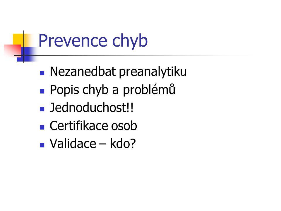 Prevence chyb Nezanedbat preanalytiku Popis chyb a problémů