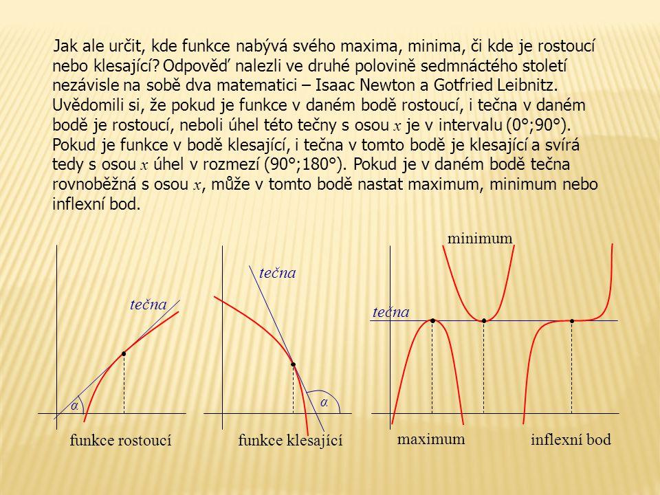 Jak ale určit, kde funkce nabývá svého maxima, minima, či kde je rostoucí nebo klesající Odpověď nalezli ve druhé polovině sedmnáctého století nezávisle na sobě dva matematici – Isaac Newton a Gotfried Leibnitz. Uvědomili si, že pokud je funkce v daném bodě rostoucí, i tečna v daném bodě je rostoucí, neboli úhel této tečny s osou x je v intervalu (0°;90°). Pokud je funkce v bodě klesající, i tečna v tomto bodě je klesající a svírá tedy s osou x úhel v rozmezí (90°;180°). Pokud je v daném bodě tečna rovnoběžná s osou x, může v tomto bodě nastat maximum, minimum nebo inflexní bod.