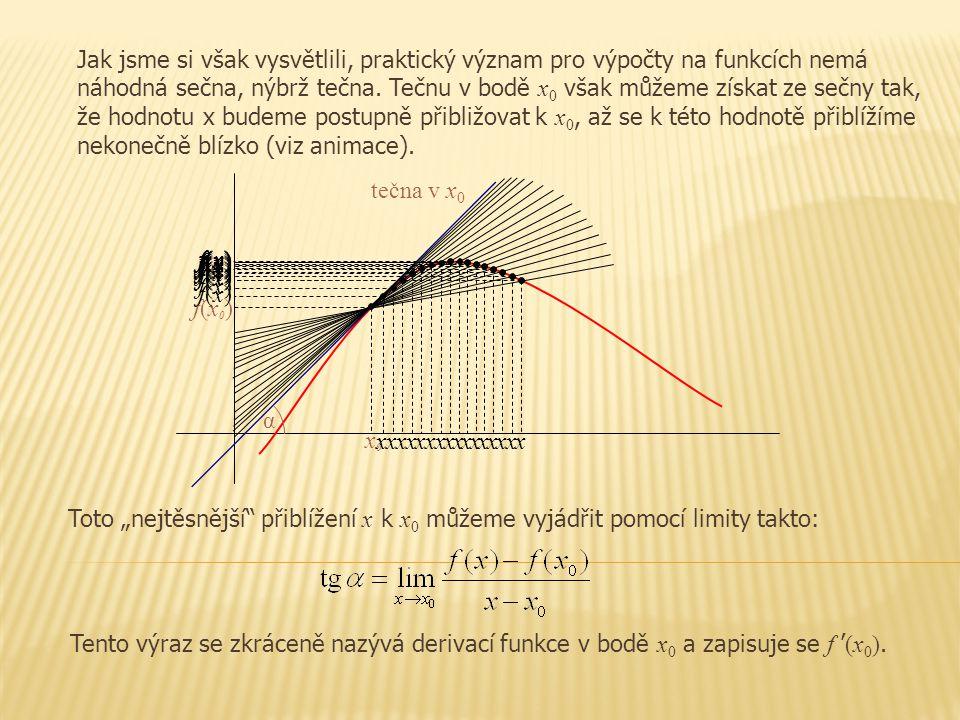 Jak jsme si však vysvětlili, praktický význam pro výpočty na funkcích nemá náhodná sečna, nýbrž tečna. Tečnu v bodě x0 však můžeme získat ze sečny tak, že hodnotu x budeme postupně přibližovat k x0, až se k této hodnotě přiblížíme nekonečně blízko (viz animace).