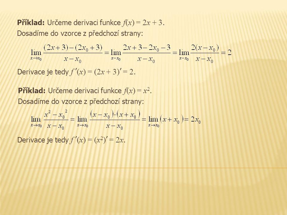 Příklad: Určeme derivaci funkce f(x) = 2x + 3.