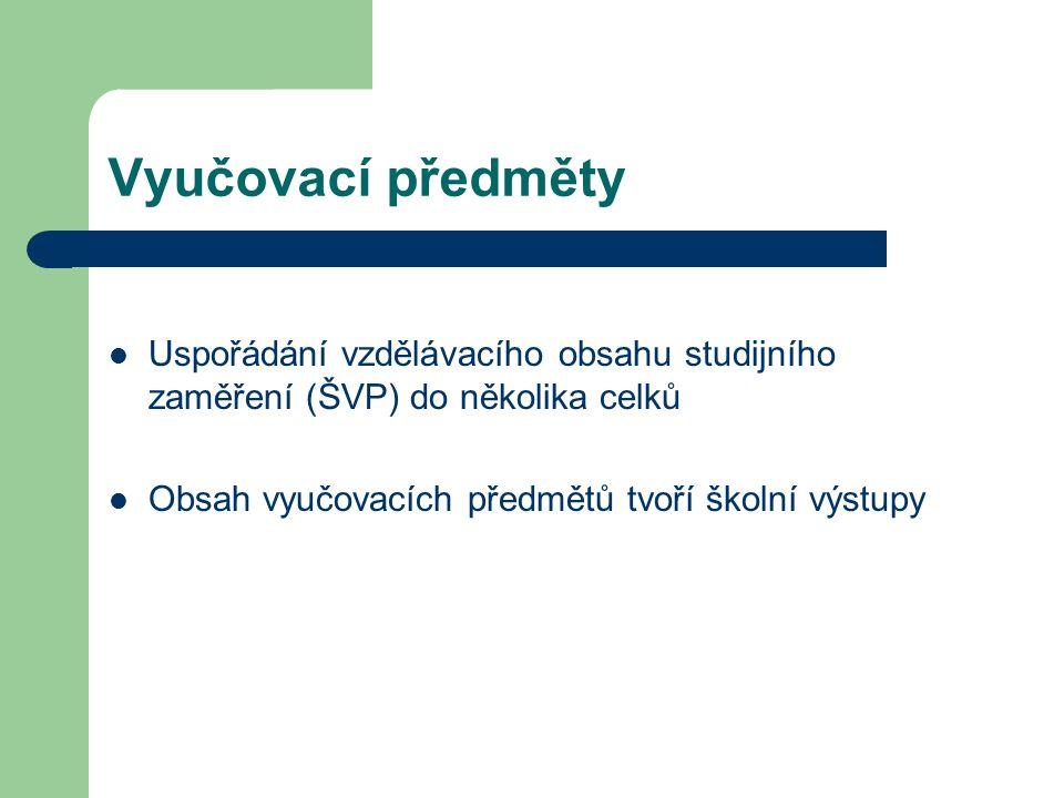 Vyučovací předměty Uspořádání vzdělávacího obsahu studijního zaměření (ŠVP) do několika celků.